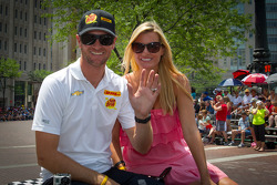 Indy 500 festival parade: Ryan Hunter-Reay, Andretti Autosport Chevrolet with wife Beccy Gordon