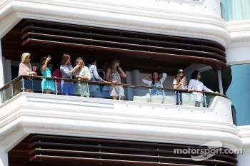 Fans on an apartment balcony