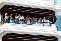 Fans on an apartment balcony