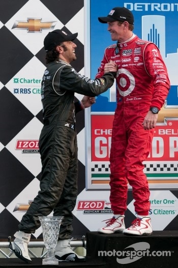 Race winner Scott Dixon, second place Dario Franchitti