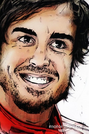 Pit garage drawing of Fernando Alonso, Scuderia Ferrari