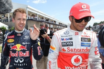 Qualifying results, 1st Sebastian Vettel, Red Bull Racing 2nd place Lewis Hamilton