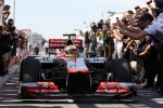 Race winner Lewis Hamilton, McLaren Mercedes in parc ferme