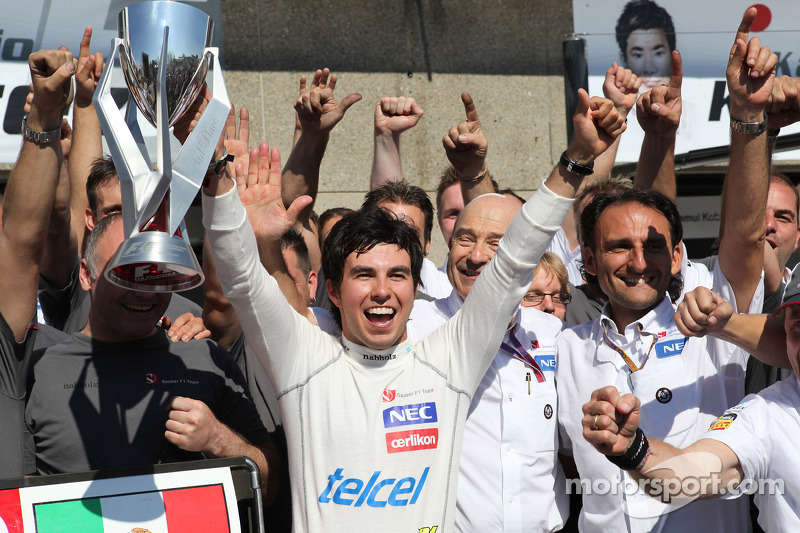 3rd place Sergio Perez, Sauber F1 Team F1 Team with the team and Peter Sauber F1 Team