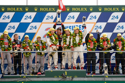 LMP2 podium: class winners Enzo Potolicchio, Ryan Dalziel, Tom Kimber-Smith, second place Pierre Thiriet, Mathias Beche, Christophe Tinseau, third place Luis Perez Companc, Pierre Kaffer, Soheil Ayari