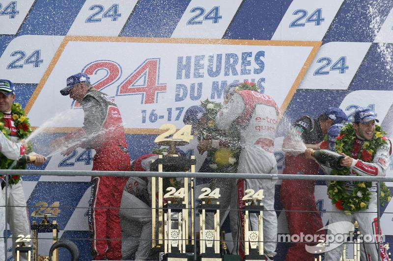 LMP1 podium: class and overall winners Marcel Fässler, Andre Lotterer, Benoit Tréluyer