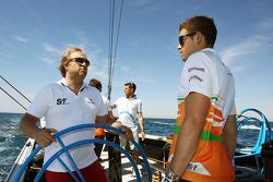 Bob Fernley, Sahara Force India F1 Team Deputy Team Principal with Paul di Resta, Sahara Force India F1 on the Aethra America's Cup Boat