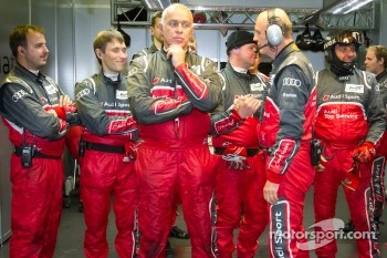 Audi Sport team members celebrate pole position with Dr. Wolfgang Ullrich