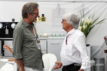 Eric Clapton, Rock Legend with Bernie Ecclestone, CEO Formula One Group