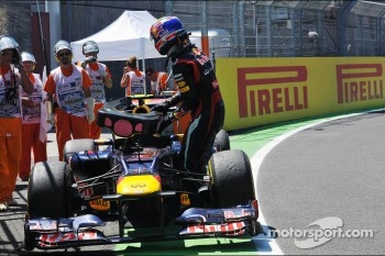 Mark Webber, Red Bull Racing stops at the end of the race