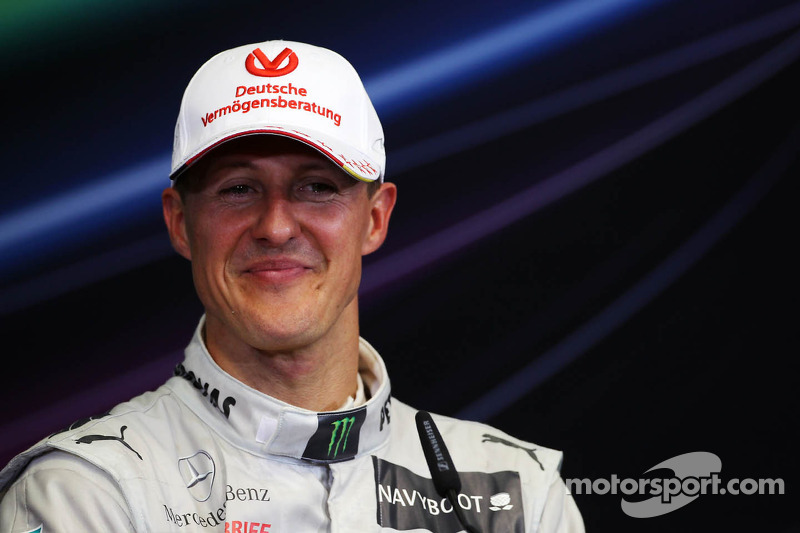 Third placed Michael Schumacher, Mercedes AMG F1 in the FIA Press Conference