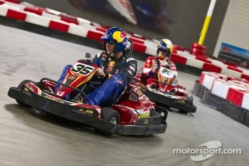 Sbastien Loeb and Travis Pastrana race in go-karts