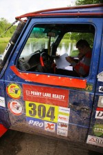 Co-driver Stephen Ross learning how to read a roadbook