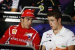 Fernando Alonso, Ferrari and Paul di Resta, Sahara Force India F1 in the FIA Press Conference