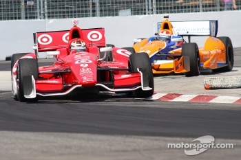 Scott Dixon, Target Chip Ganassi Racing Honda and Charlie Kimball, Novo Nordisk Chip Ganassi Racing Honda