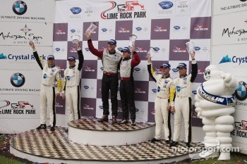 GT podium: winners Jörg Bergmeister, Patrick Long, second place Oliver Gavin, Tom Milner, third place Jan Magnussen, Antonio Garcia