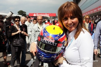 Carol Vordermann, TV Presenter with the helmet of race winner Mark Webber, Red Bull Racing