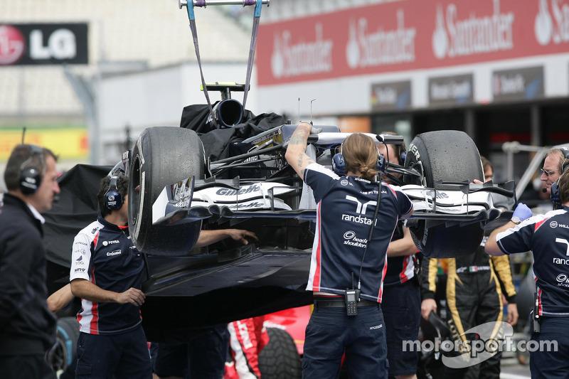 The Car of Valtteri Bottas, Williams F1 Team after his chrash