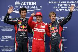Qualifying parc ferme, Red Bull Racing, third; Fernando Alonso, Ferrari, pole position; Sebastian Vettel, Red Bull Racing, third