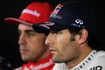 Mark Webber, Red Bull Racing and Fernando Alonso, Scuderia Ferrari in the FIA Press Conference