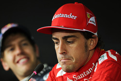 Pole sitter Fernando Alonso, Scuderia Ferrari and Sebastian Vettel, Red Bull Racing in the FIA Press Conference