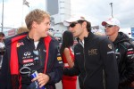 Sebastian Vettel, Red Bull Racing and Pedro de la Rosa, HRT Racing Team
