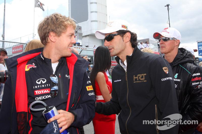 Sebastian Vettel, Red Bull Racing and Pedro de la Rosa, HRT Racing Team