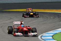 Fernando Alonso, Ferrari leads Sebastian Vettel, Red Bull Racing