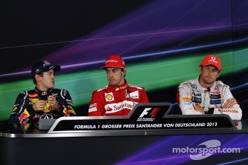 The FIA Press Conference, Sebastian Vettel, Red Bull Racing, second; Fernando Alonso, Ferrari, race winner; Jenson Button, McLaren, third