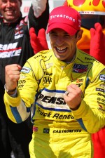 Victory lane: race winner Helio Castroneves, Team Penske Chevrolet