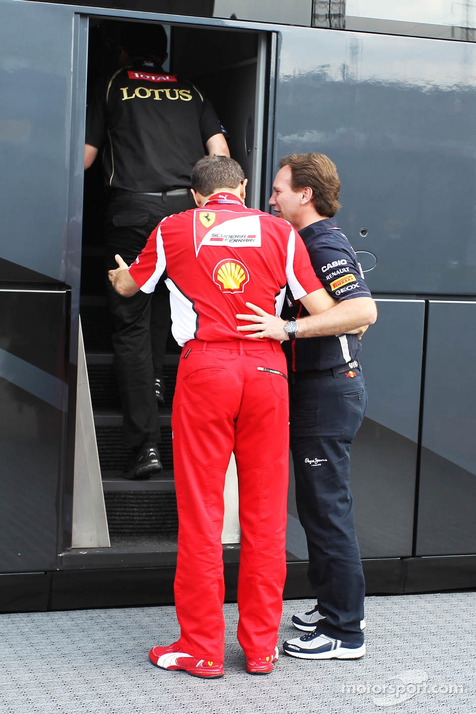 Stefano Domenicali, Ferrari General Director and Christian Horner, Red Bull Racing Team Principal head for a meeting with Bernie Ecclestone, CEO Formula One Group