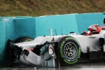 Michael Schumacher, Mercedes AMG F1 crashed in the rain in the second practice session