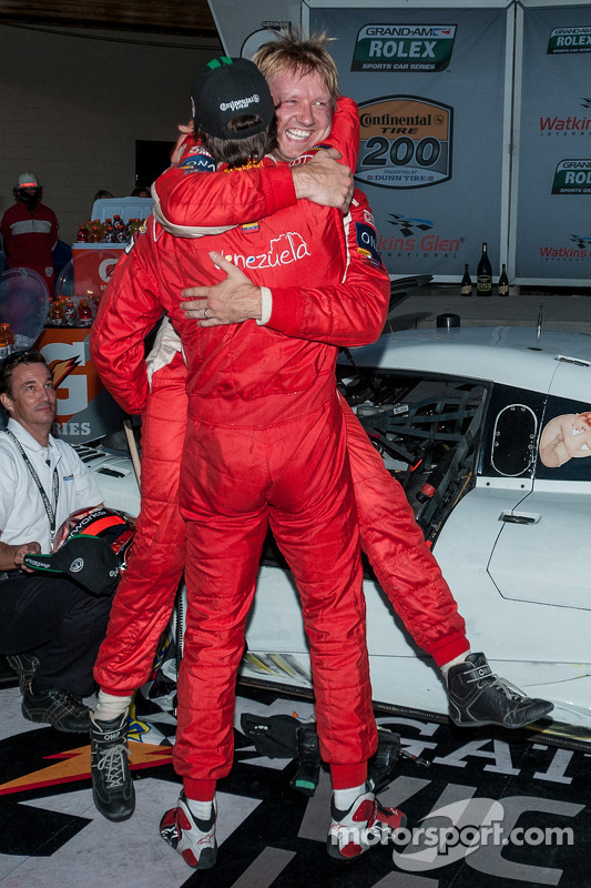 Race winners Lucas Luhr and Ryan Dalziel celebrate
