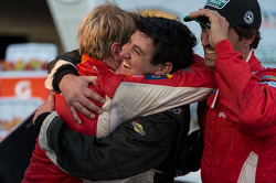 Peter Baron with an embrace for Ryan Dalziel