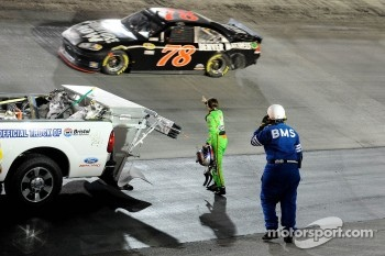 Danica Patrick shows her disapprovement to Regan Smith