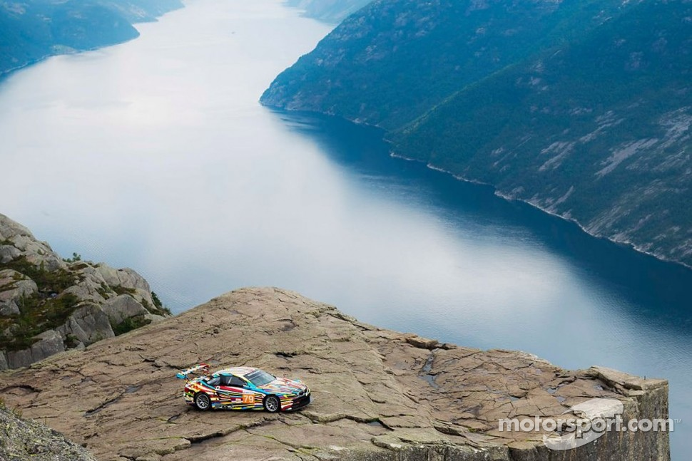 BMW Art Car designed by Jeff Koons on top of Pulpit Rock in Norway