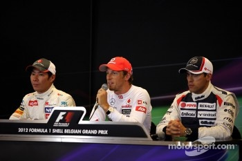 First three, Kamui Kobayashi, Sauber F1 Team, Jenson Button, McLaren Mercedes and Pastor Maldonado, Williams F1 Team