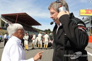 Bernie Ecclestone with Ross Brawn, Mercedes F1 Team Principal