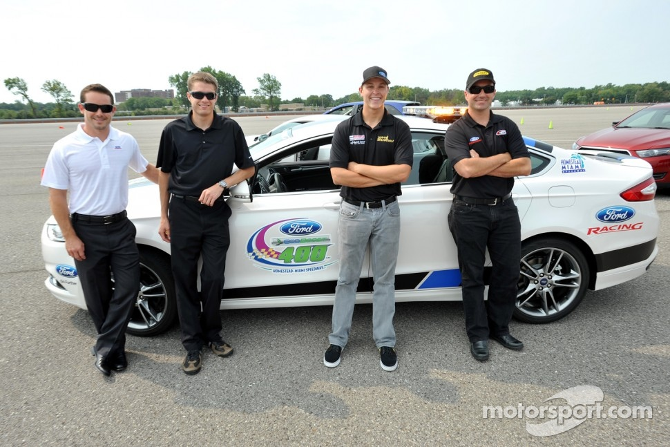 Casey Mears, David Ragan, Trevor Bayne, Marcos Ambrose test drive the 2013 Ford Fusion pace car to be used for the season finale at Homestead