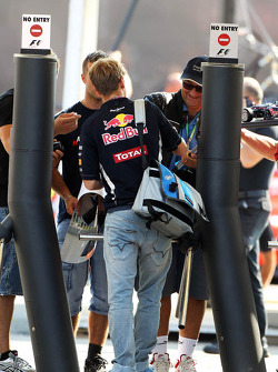 Sebastian Vettel, Red Bull Racing signs autographs for the fans