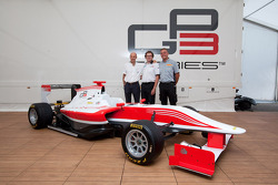 Luca Pignacca (Dallara Chief of Design) Didier Perrin (GP3 Technical Director) Mario Isola (Pirelli Racing manager) at the launch of the new GP3/13 car