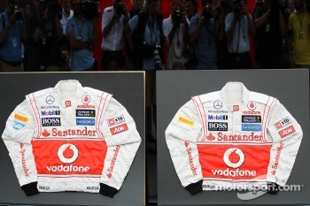 Signed overalls for Jenson Button, McLaren and team mate Lewis Hamilton, McLaren