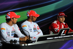 Post qualifying FIA Press Conference, Jenson Button, McLaren, second; Lewis Hamilton, McLaren, pole position; Felipe Massa, Ferrari, third