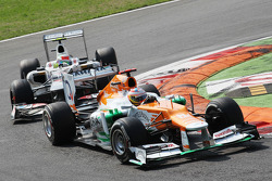 Paul di Resta, Sahara Force India leads Sergio Perez, Sauber