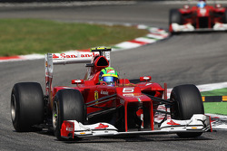 Felipe Massa, Ferrari leads Fernando Alonso, Ferrari