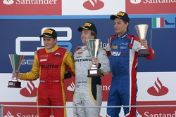 Podium: race winner Davide Valsecchi, second place Fabio Leimer, third place Jolyon Palmer