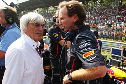 Bernie Ecclestone, CEO Formula One Group, with Christian Horner, Red Bull Racing Team Principal on the grid