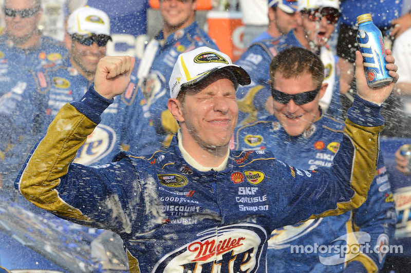 Victory lane: race winner Brad Keselowski, Penske Racing Dodge celebrates