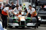 Sahara Force India F1 pushed down the pit lane