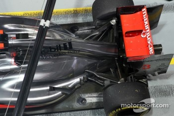Jenson Button, McLaren engine cover, exhaust, rear suspension and rear wing detail